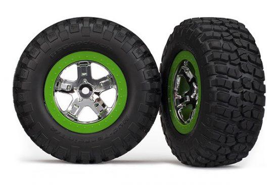 Traxxas Tires & wheels, assembled, glued (SCT, chrome, green beadlock wheel, BFGoodrich® Mud-Terrain™ T/A® KM2 tire, foam inserts) (2) (2WD front only)