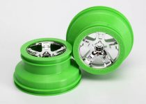 "Traxxas Wheels, SCT, chrome, green beadlock style, dual profile (2.2"" outer, 3.0"" inner) (2) (2WD front only)"