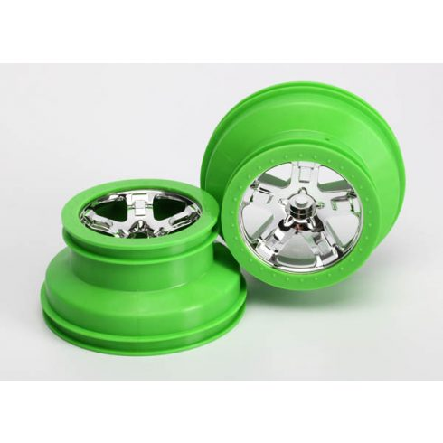 """Traxxas Wheels, SCT, chrome, green beadlock style, dual profile (2.2"""" outer, 3.0"""" inner) (2) (2WD front only)"""