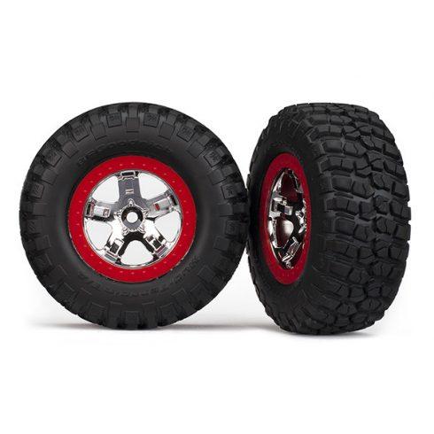 Traxxas Tires & wheels, assembled, glued (SCT chrome, red beadlock style wheels, BFGoodrich® Mud-Terrain™ T/A® KM2 tires, foam inserts) (2)(4WD front/rear, 2WD rear only)