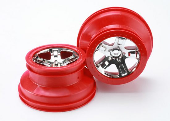 """Traxxas Wheels, SCT chrome, red beadlock style, dual profile (2.2"""" outer, 3.0"""" inner) (4WD front/rear, 2WD rear only) (2)"""
