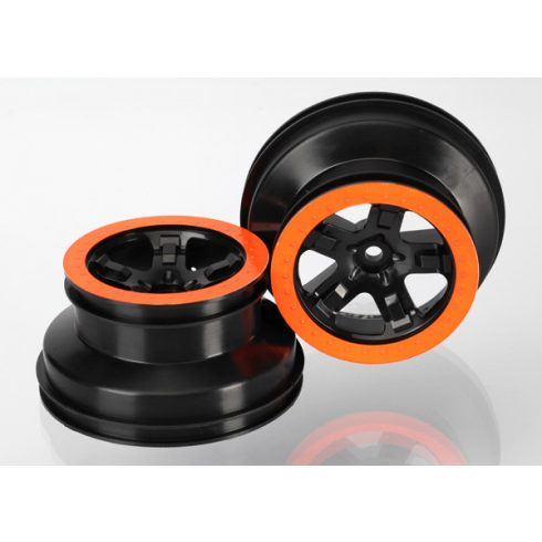 "Traxxas  Wheels, SCT black, orange beadlock style, dual profile (2.2"" outer, 3.0"" inner) (4WD f/r, 2WD rear) (2)"
