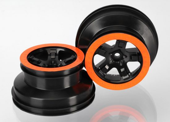 "Traxxas  Wheels, SCT black, orange beadlock style, dual profile (2.2"" outer, 3.0"" inner) (4WD f/r, 2WD rear) (2)"