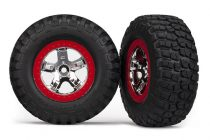 Traxxas  Tires & wheels, assembled, glued (SCT chrome, red beadlock style wheels, BFGoodrich® Mud-Terrain™ T/A® KM2 tires, foam inserts) (2) (2WD front)