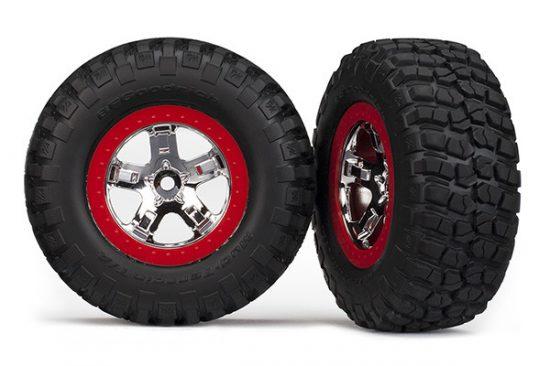 Traxxas  Tires & wheels, assembled, glued (SCT chrome, red beadlock style wheels, BFGoodrich® Mud-Terrain™ T/A® KM2 tires, foam inserts) (2) (2WD front)