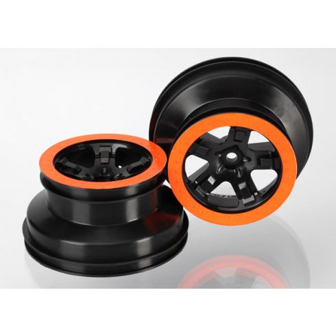 "Traxxas Wheels, SCT black, orange beadlock style, dual profile (2.2"" outer, 3.0"" inner) (2WD front) (2)"