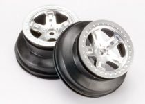 "Traxxas  Wheels, SCT satin chrome, beadlock style, dual profile (2.2"" outer, 3.0"" inner) (4WD front/rear, 2WD rear only)"