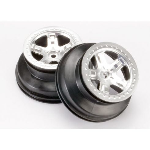 """Traxxas  Wheels, SCT satin chrome, beadlock style, dual profile (2.2"""" outer, 3.0"""" inner) (4WD front/rear, 2WD rear only)"""