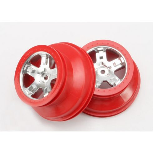"""Traxxas Wheels, SCT satin chrome, red beadlock style, dual profile (2.2"""" outer, 3.0"""" inner) (4WD front/rear, 2WD rear only) (2)"""