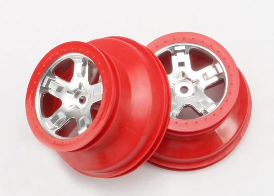 "Traxxas Wheels, SCT satin chrome, red beadlock style, dual profile (2.2"" outer, 3.0"" inner) (4WD front/rear, 2WD rear only) (2)"