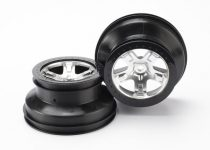 "Traxxas Wheels, SCT satin chrome, black beadlock style SCT, dual profile (2.2"" outer, 3.0"" inner) (4WD front/rear, 2WD rear only) (2)"