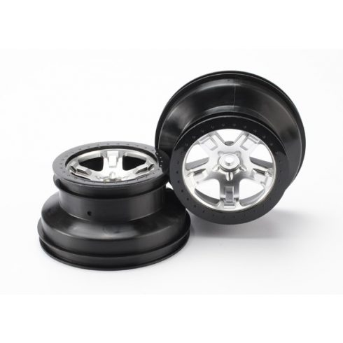 """Traxxas Wheels, SCT satin chrome, black beadlock style SCT, dual profile (2.2"""" outer, 3.0"""" inner) (4WD front/rear, 2WD rear only) (2)"""