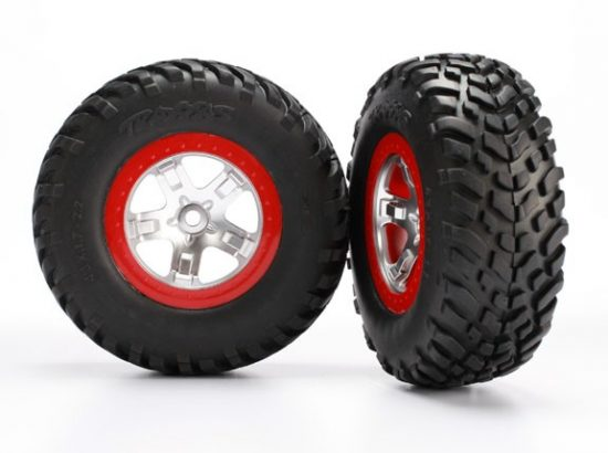 Traxxas Tires & wheels, assembled, glued (SCT satin chrome red beadlock wheels, ultra-soft S1 compound off-road racing tires, inserts) (2) (2WD rear, 4WD f/r)