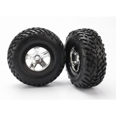 Traxxas  Tires & wheels, assembled, glued (SCT satin chrome, black beadlock style wheels, SCT off-road racing tires, foam inserts) (2) (4WD front/rear, 2WD rear only)