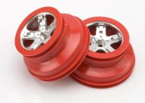 "Traxxas  Wheels, SCT satin chrome, red beadlock style, dual profile (2.2"" outer, 3.0"" inner) (2WD front) (2)"