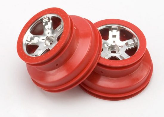 """Traxxas  Wheels, SCT satin chrome, red beadlock style, dual profile (2.2"""" outer, 3.0"""" inner) (2WD front) (2)"""