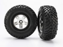 Traxxas Tires & wheels, assembled, glued (SCT satin chrome, black beadlock style wheels, SCT off-road racing tires, foam inserts) (2) (2WD front)