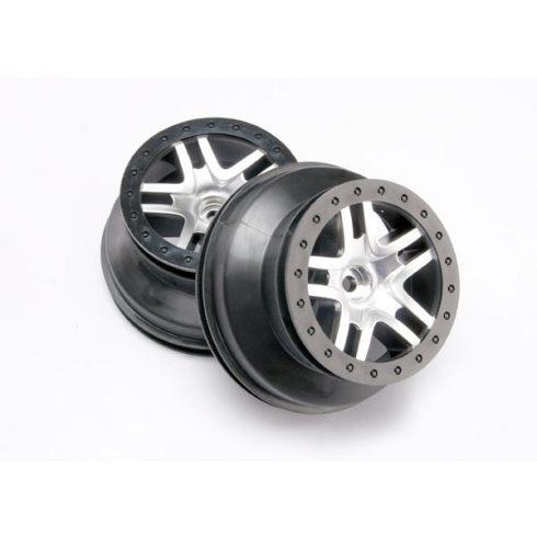 "Traxxas Wheels, SCT Split-Spoke, satin chrome, black beadlock style, dual profile (2.2"" outer, 3.0"" inner) (2WD front) (2)"