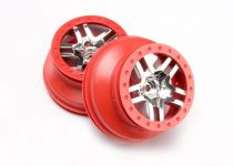 "Traxxas  Wheels, SCT Split-Spoke, chrome, red beadlock style, dual profile (2.2"" outer, 3.0"" inner) (2WD front) (2)"