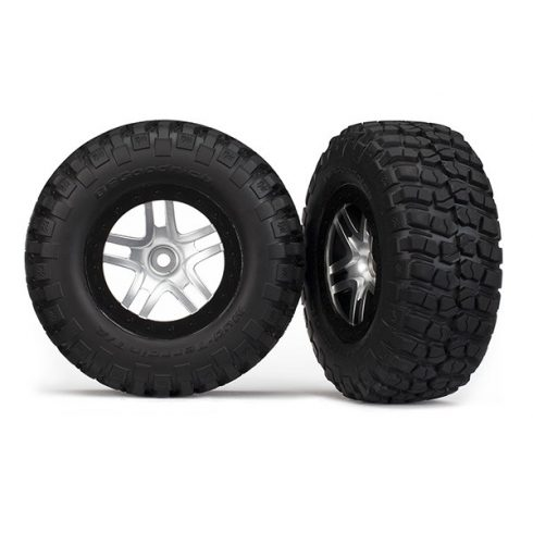 Traxxas Tires & wheels, assembled, glued (SCT Split-Spoke, satin chrome, black beadlock wheels, BFGoodrich® Mud-Terrain™ T/A® KM2 tires, foam inserts) (2) (2WD front)