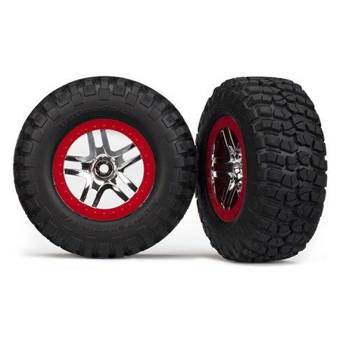 Traxxas  Tires & wheels, assembled, glued (SCT Split-Spoke, chrome red beadlock style wheels, BFGoodrich® Mud-Terrain™ T/A® KM2 tires, foam inserts) (2) (2WD front)