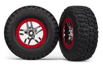 Traxxas Tires & wheels, assembled, glued (S1 ultra-soft, off-road racing compound) (SCT Split-Spoke chrome, red beadlock style wheels, BFGoodrich® Mud-Terrain™ T/A® KM2 tires) (2) (2WD front)