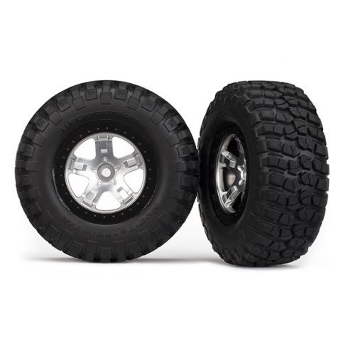 Traxxas Tires & wheels, assembled, glued (SCT satin chrome, black beadlock style wheels, BFGoodrich® Mud-Terrain™ T/A® KM2 tires, foam inserts) (2)(4WD front/rear, 2WD rear only)