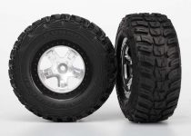 Traxxas Tires & wheels, assembled, glued (SCT satin chrome, black beadlock style wheels, Kumho tires, foam inserts) (2) (4WD front/rear, 2WD rear only)