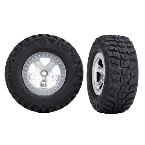 Traxxas Tires & wheels, assembled, glued (SCT satin chrome, beadlock style wheels, Kumho tires, foam inserts) (2) (4WD front/rear, 2WD rear only)