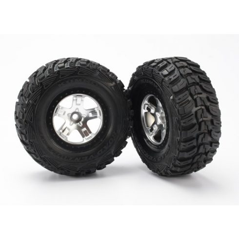 Traxxas Tires & wheels, assembled, glued (SCT satin chrome, black beadlock style wheels, Kumho tires, foam inserts) (2) (2WD front)