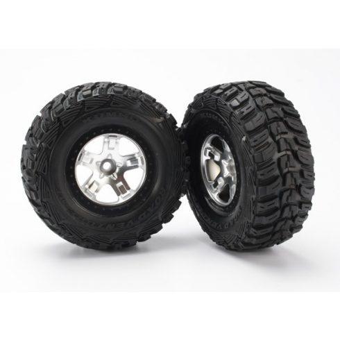 Traxxas Tires & wheels, assembled, glued (SCT satin chrome, black beadlock style wheels, Kumho tires, foam inserts) (2) (2WD front)