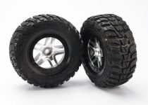 Traxxas  Tires & wheels, assembled, glued (SCT Split-Spoke satin chrome, black beadlock style wheels, Kumho tires, foam inserts) (2) (2WD front)