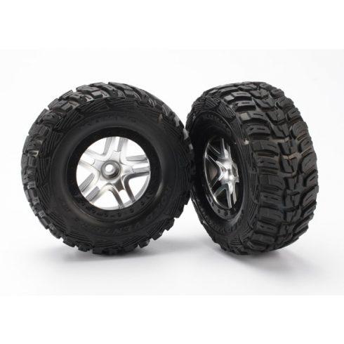 Traxxas  Tires & wheels, assembled, glued (SCT Split-Spoke satin chrome, black beadlock style wheels, Kumho tires, foam inserts) (2) (2WD front)