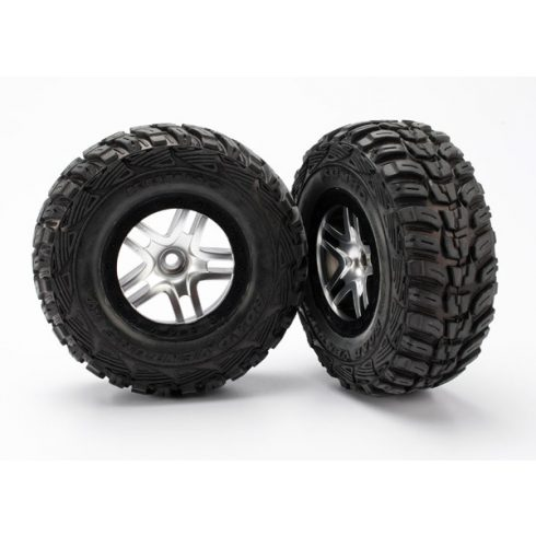 Traxxas Tires & wheels, assembled, glued (S1 ultra-soft off-road racing compound) (SCT Split-Spoke satin chrome, black beadlock style wheels, Kumho tires, foam inserts) (2) (2WD front)