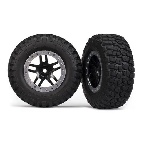 Traxxas  Tires & wheels, assembled, glued (SCT Split-Spoke, black, satin chrome beadlock wheels, BFGoodrich® Mud-Terrain™ T/A® KM2 tire, foam inserts) (2) (4WD f/r, 2WD rear)