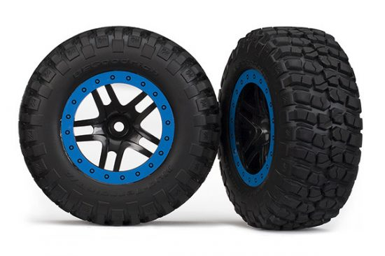 Traxxas Tire & wheel assy, glued (SCT Split-Spoke, black, blue beadlock wheels, BFGoodrich® Mud-Terrain™ T/A® KM2 tire, inserts) (2) (4WD f/r, 2WD rear)