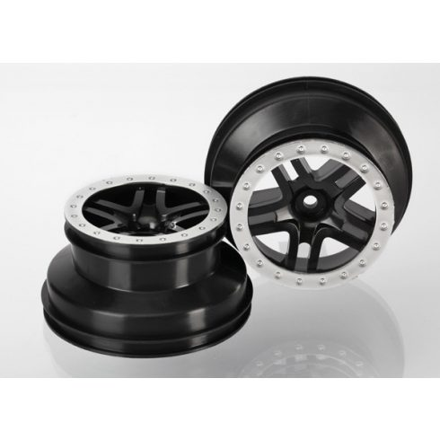 "Traxxas Wheels, SCT Split-Spoke, black, satin chrome beadlock style, dual profile (2.2"" outer, 3.0"" inner) (4WD f/r, 2WD rear) (2)"