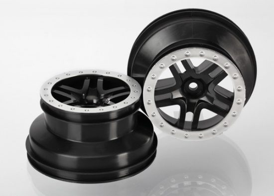 "Traxxas Wheels, SCT Split-Spoke, black, satin chrome beadlock style, dual profile (2.2"" outer, 3.0"" inner) (4WD f/r, 2WD rear) (2)"