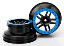 "Traxxas Wheels, SCT Split-Spoke, black, blue beadlock style, dual profile (2.2"" outer, 3.0"" inner) (4WD f/r, 2WD rear) (2)"