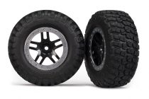 Traxxas Tires & wheels, assembled, glued (SCT Split-Spoke, black, satin chrome beadlock wheels, BFGoodrich® Mud-Terrain™ T/A® KM2 tires, foam inserts) (2) (2WD Front)