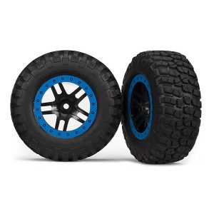 Traxxas Tire & wheel assy, glued (SCT Split-Spoke, black, blue beadlock wheels, BFGoodrich® Mud-Terrain™ T/A® KM2 tires, inserts) (2) (2WD Front)