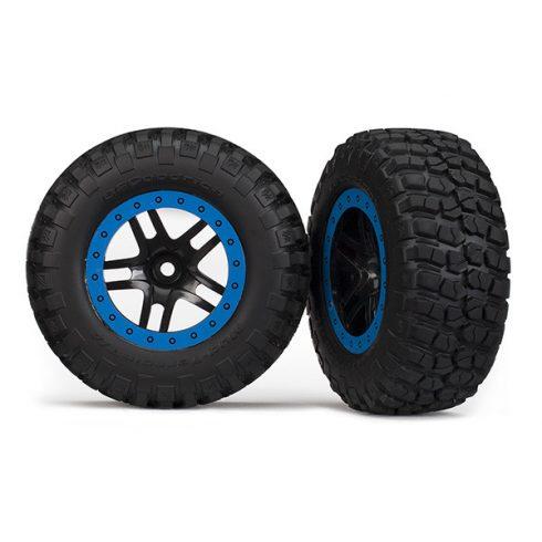 Traxxas Tire & wheel assy, glued (SCT Split-Spoke, black, blue beadlock wheels, BFGoodrich® Mud-Terrain™ T/A® KM2 tires, inserts) (2) (2WD Front)