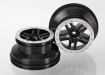 "Traxxas Wheels, SCT Split-Spoke, black, satin chrome beadlock style, dual profile (2.2"" outer, 3.0"" inner) (2WD front) (2)"