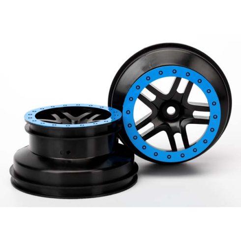 """Traxxas Wheels, SCT Split-Spoke, black, blue beadlock style, dual profile (2.2"""" outer, 3.0"""" inner) (2WD front) (2)"""