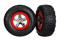 """Traxxas  Tires & wheels, assembled, glued (SCT chrome wheels, red beadlock style, dual profile (2.2"""" outer, 3.0"""" inner), SCT off-road racing tires, foam inserts) (2) (4WD f/r, 2WD rear) (TSM rated)"""