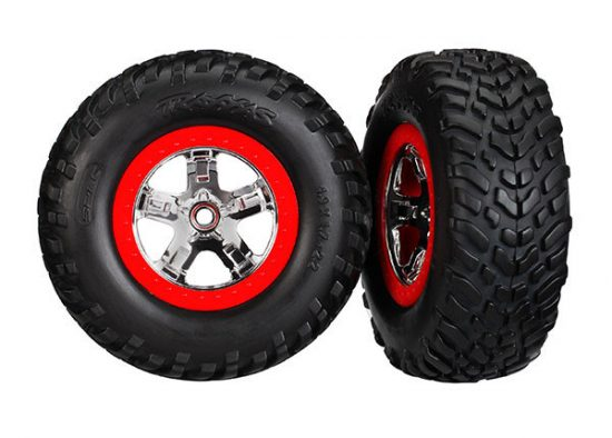 """Traxxas Tires & wheels, assembled, glued (S1 compound) (SCT chrome wheels, red beadlock style, dual profile (2.2"""" outer, 3.0"""" inner), SCT off-road racing tires, foam inserts) (2) (4WD f/r, 2WD rear)"""
