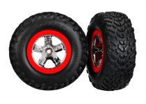 """Traxxas  Tires & wheels, assembled, glued (SCT chrome wheels, red beadlock style, dual profile (2.2"""" outer, 3.0"""" inner), SCT off-road racing tires, foam inserts) (2) (2wd front)"""