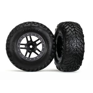 "Traxxas Tires & wheels, assembled, glued (SCT Split-Spoke black, satin chrome beadlock style wheel, dual profile (2.2"" outer, 3.0"" inner), SCT off-road racing tires, foam inserts) (2)"