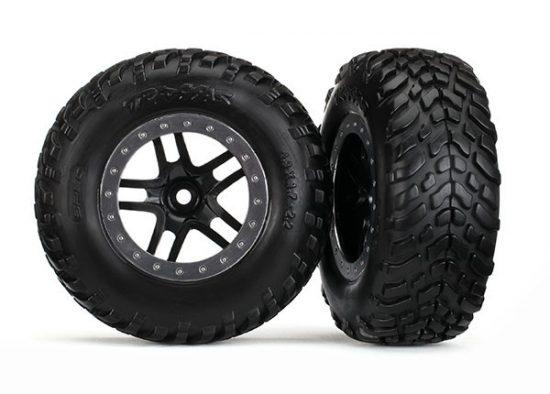 "Traxxas Tires & wheels, assembled, glued (SCT Split-Spoke black, satin chrome beadlock style wheel, dual profile (2.2"" outer, 3.0"" inner), SCT off-road racing tires, foam inserts) (2)"