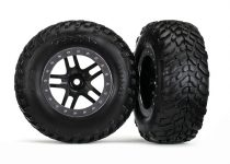 """Traxxas Tires & wheels, assembled, glued (S1 compound) (SCT Split-Spoke black, satin chrome beadlock style wheel, dual profile (2.2"""" outer, 3.0"""" inner), SCT off-road racing tires, foam inserts) (2) (4"""